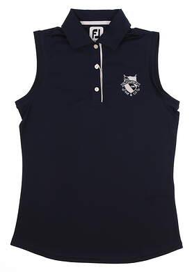 New W/ Logo Womens Footjoy All Sleeveless Polo Small S Navy Blue MSRP $76