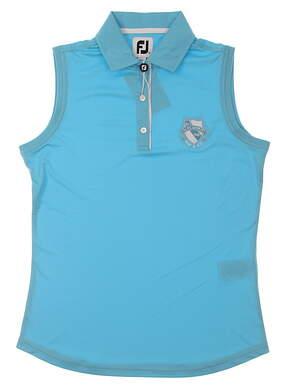 New W/ Logo Womens Footjoy Sleeveless Golf Polo Small S Blue MSRP $60 27077