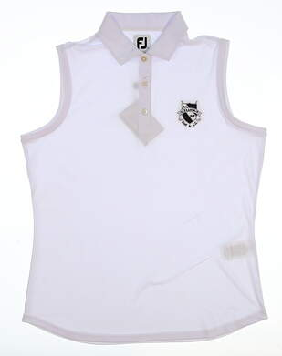New W/ Logo Womens Footjoy Golf Sleeveless Polo Large L White MSRP $76 27072