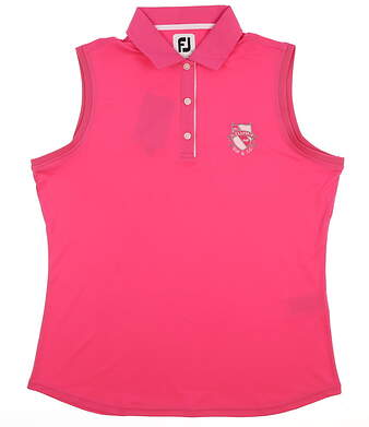 New W/ Logo Womens Footjoy Golf Sleeveless Polo Large L Pink MSRP $76 27074