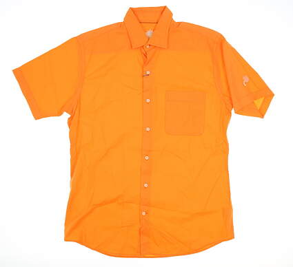 New W/ Logo Mens Peter Millar Golf Button Up Medium M Orange MSRP $123