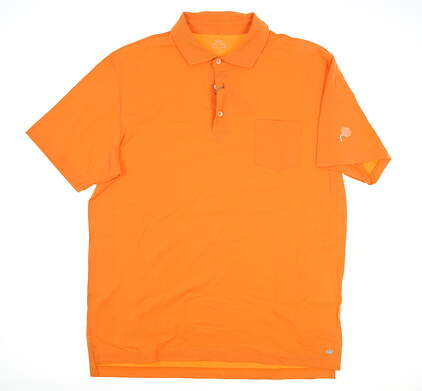 New W/ Logo Mens Peter Millar Golf Polo Large L Orange MSRP $86
