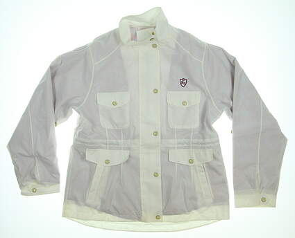 New W/ Logo Womens Peter Millar Golf Rain Jacket Large L White MSRP $197 LS13EZ01