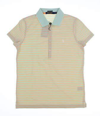 New Womens Ralph Lauren Performance stripe knit Golf Polo Medium M MSRP $91
