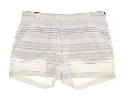 New Womens Under Armour Stripe Shorts Size Medium M White MSRP $75 UW9163