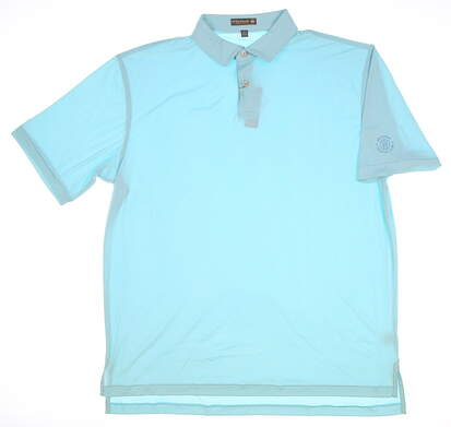 New W/Logo Mens Peter Millar Golf Polo Large L Blue MSRP $80 MS17EK44