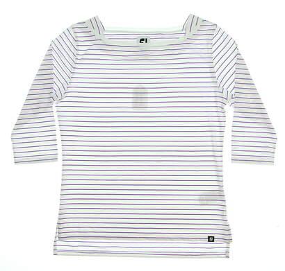 New Womens Footjoy Lisle Stripe Boatneck Shirt Large L White/Purple 27394 MSRP $68