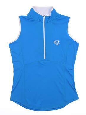 New W/ Logo Womens Footjoy Golf Sleeveless Polo Large L Blue MSRP $65 22926