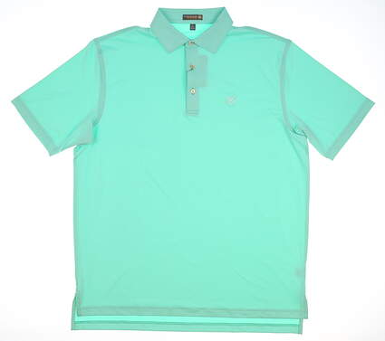 New W/ Logo Mens Peter Millar Golf Polo Large L Green MSRP $79 MF17EK01S