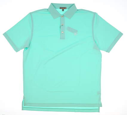 New W/ Logo Mens Peter Millar Golf Polo Large L Green MSRP $85 MF17EK12