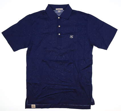 New W/ Logo Mens Peter Millar Golf Polo Small S Navy Blue MSRP $95 MC0K01