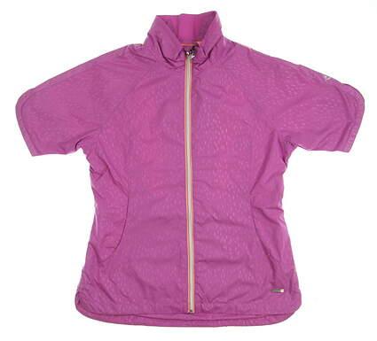New W/ Logo Womens SUNICE Golf Short Sleeve Wind Jacket Medium M Purple MSRP $89 S53502