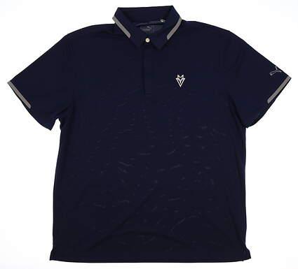 New W/ Logo Mens Puma Golf Polo X-Large XL Navy Blue MSRP $75 571443