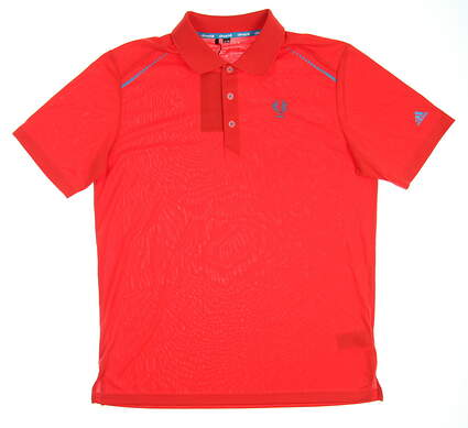 New W/ Logo Mens Adidas Golf Polo Large L Red MSRP $75 Z91112