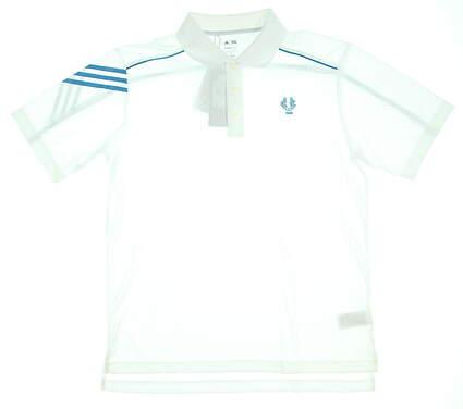 New W/ Logo Mens Adidas Golf Polo Medium M White MSRP $65 Z15846