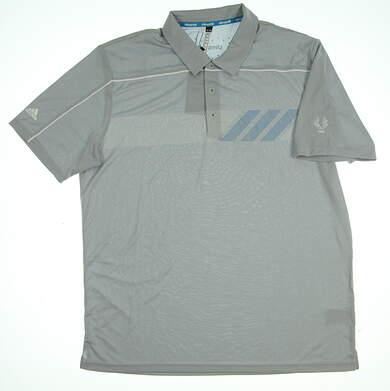 New W/ Logo Mens Adidas Golf Polo XX-Large XXL Gray MSRP $80 Z87287