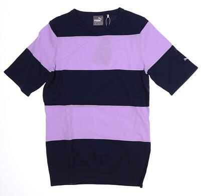 New Womens Puma 2018 Short Sleeve Sweater Small S Purple Rose/Peacoat MSRP $75 574770