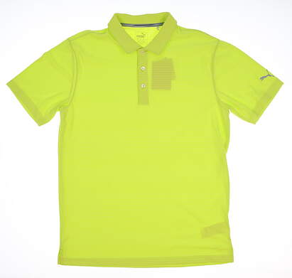 New Mens Puma Mixed Stripe Polo Medium M Acid Lime MSRP $55 574612