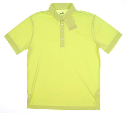 New Mens Puma Oxford Heather Polo Medium M Acid Lime MSRP $60 574613