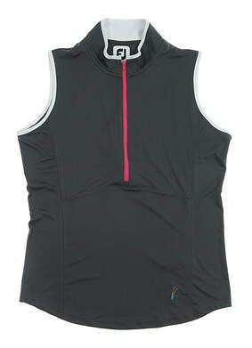 New W/ Logo Womens Footjoy 1/2 Zip Sleeveless Polo Medium M Gray MSRP $65 22925
