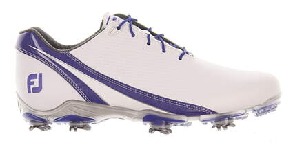 New Mens Golf Shoe Footjoy DNA Medium 9.5 White/Blue MSRP $190 53384