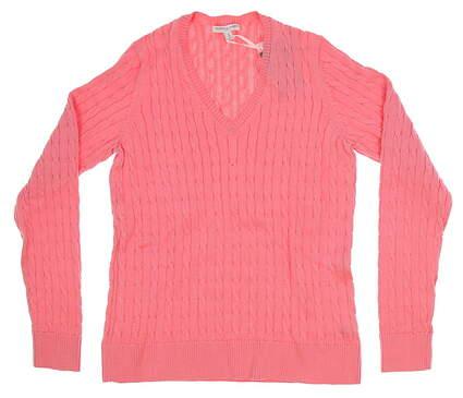New Womens Fairway & Greene Golf V-neck Sweater Medium M Pink MSRP $125 D32178