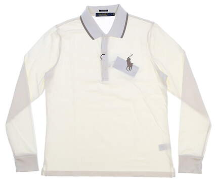 New Womens Ralph Lauren Long Sleeve Golf Polo Large L Cream MSRP $98