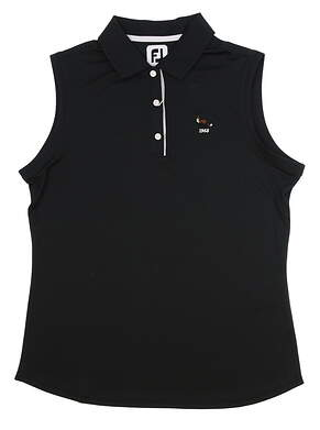 New W/ Logo Womens Footjoy Golf Sleeveless Polo Large L Black MSRP $60 27073