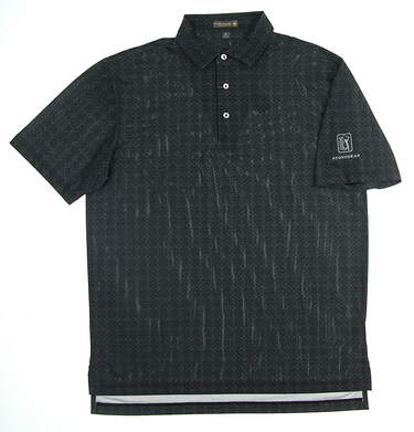 New W/ Logo Mens Peter Millar Golf Polo Medium M Black MSRP $90