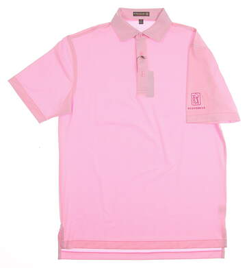 New W/ Logo Mens Peter Millar Golf Polo Small S Pink MSRP $95