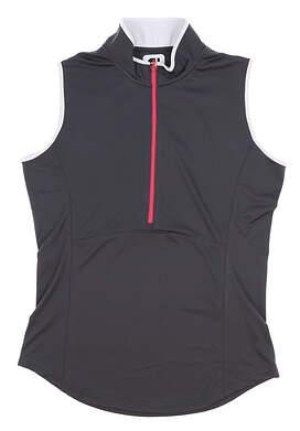 New Womens Footjoy Golf 1/2 zip Sleeveless Polo Small S Gray MSRP $65 22925