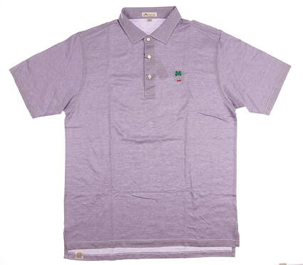 New W/ Logo Mens Peter Millar Golf Polo Large L Purple MSRP $95 MF17K08S