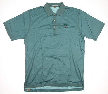 New W/ Logo Mens Peter Millar Golf Polo Large L Blue MSRP $89 MF16K01