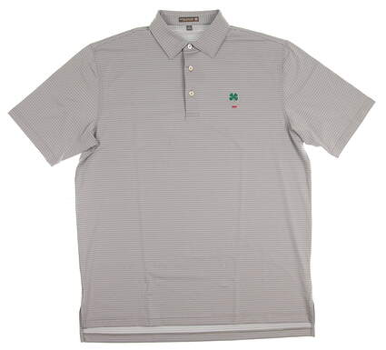 New W/ Logo Mens Peter Millar Golf Polo Large L Gray MSRP $90 MF17EK13S