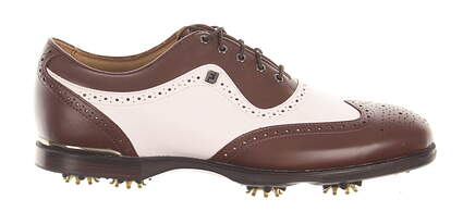 New Mens Golf Shoe Footjoy Icon Black Medium 11 White/Brown MSRP $260