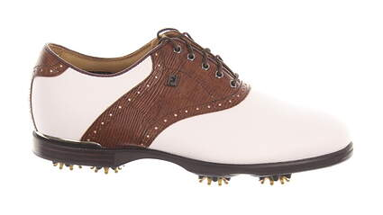 New Mens Golf Shoe Footjoy Icon Black Wide 9 White/Brown MSRP $260