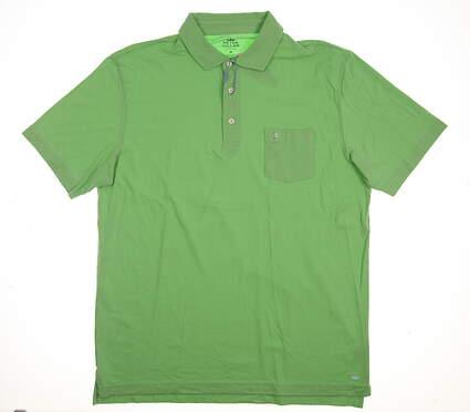 New W/ Logo Mens Peter Millar Golf Polo Medium M Green MSRP $90