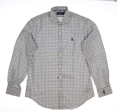 New W/Logo Mens Ralph Lauren Golf Button Up Medium M Gray MSRP $120