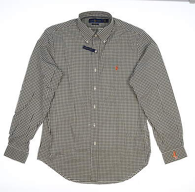New W/ Logo Mens Ralph Lauren Golf Button Up Medium M Green MSRP $120