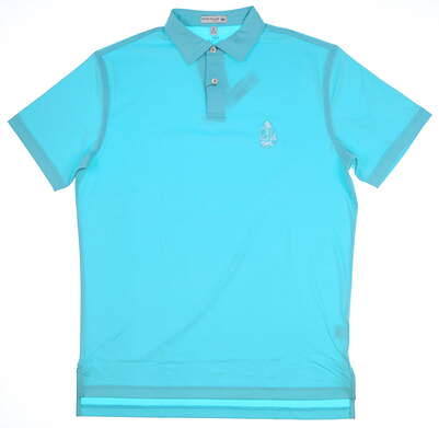New W/ Logo Mens Peter Millar Golf Polo Large L Blue MSRP $81 MF17EK00STO