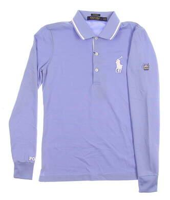 New W/ Logo Womens Ralph Lauren All Long Sleeve Polo X-Small XS Blue Bonnet