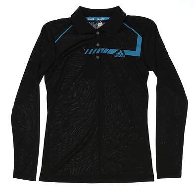 New Womens Adidas Climachill Long Sleeve Golf Polo X-Small XS Black MSRP $80