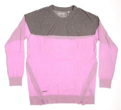 New Womens Adidas Golf Novelty Sweater Medium M Pink MSRP $90 B22352