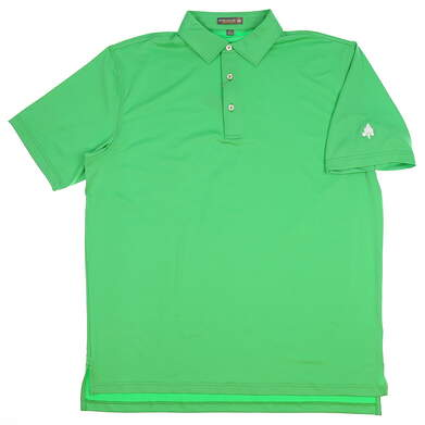New W/ Logo Mens Peter Millar Golf Polo Large L Green MSRP $79 MS17EK01S
