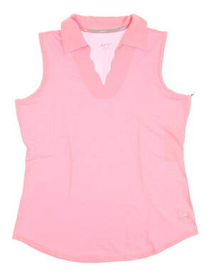 New Womens Jo Fit Golf Scallop Sleeveless Polo Medium M Pink MSRP $79 GT223
