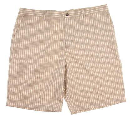 New Mens Adidas Golf Plaid Shorts Size 38 Khaki MSRP $75 TMS11-M3042
