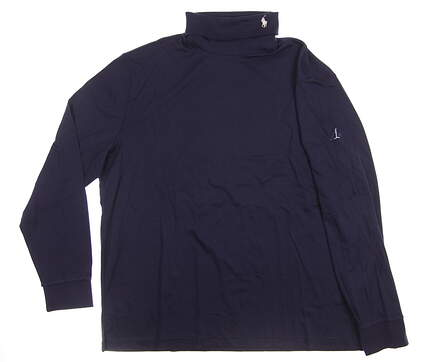 New W/ Logo Mens Ralph Lauren Golf Long Sleeve Mock Neck X-Large XL Navy Blue MSRP $110