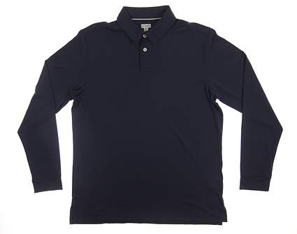New Mens Ashworth Long Sleeve Golf Polo Medium M Navy Blue MSRP $65 AE5462