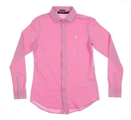 New Womens Ralph Lauren Golf Long Sleeve Polo Small S Pink MSRP $98