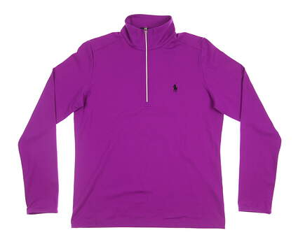 New Womens Ralph Lauren Golf Zip Long Sleeve Large L Purple MSRP $125